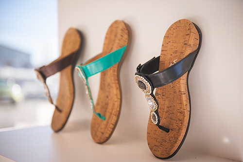 Three Orthopedic sandals on display at Azilda Family Foot Care in Azilda, ON